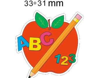 Back To School Apple Planar Resin Flatbacks Flat Back Scrapbooking Crafts Making Embellishments DIY