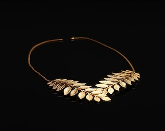 Leaf Necklace, Handmade Necklace, Boho Gold Leaf Necklace, Romantic Jewelry, Nature Inspired Necklace, Greek Leaf Necklace, Wedding Jewelry
