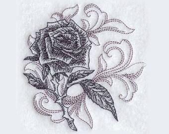 Baroque Rose Tea Towel | Embroidered Kitchen Towel | Personalized Kitchen Gifts | Kitchen Towel | Hand Towel | Flower Lover | Rose Lover