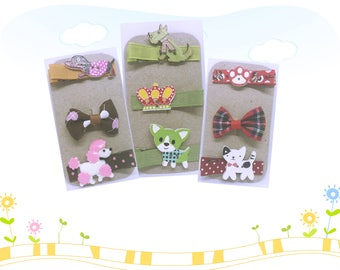 Hairclips - Dogs - Cats - Paw Prints - Bows - Crowns - Alligator Clips