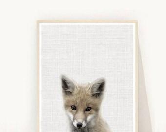Fox, Art Print, Nursery Wall Art, Baby Fox Print, Printable Art, Nursery Decor,  Instant Download, Nursery Art, Grey fox