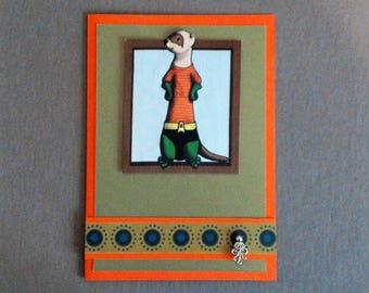 Handmade Fabric Ferret Dressed as Aqua Man Halloween Card