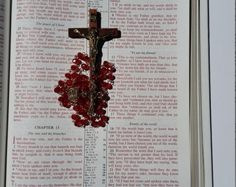 Catholic Beaded Rosary Handmade Rosary Glass Beaded Rosary Red Glass  Rosary Gift for mom Gift for her