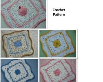 5 Dishcloth Set - Crochet PATTERN - INSTANT DOWNLOAD