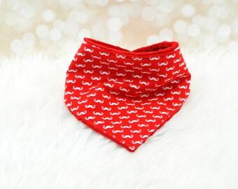 Minky Bandana Bib (MINI RED MOUSTACHES) - reversible bandana bib, minky bib, minky bibdana, baby shower gift, soft bibdana, minky baby bib