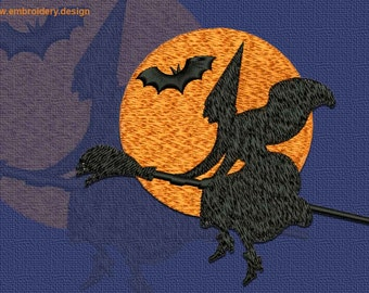 Witch flying on broom embroidery design - downloadable - 3 sizes
