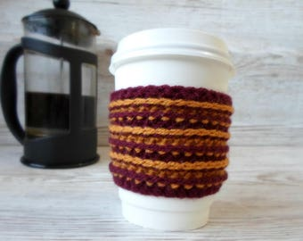 Burgundy and gold coffee cosy, red and gold, coffee sleeve, takeaway hot drink sleeve