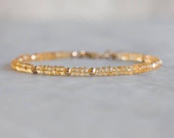 Citrine Bracelet in Gold, Silver or Rose Gold Filled, Delicate Stacking Bracelet, November Birthstone, Citrine Jewellery, Citrine Jewelry
