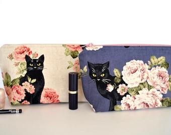 Black cat make up bag, cosmetic zipper pouch, pink rose linen case