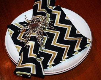 Black, White and Metallic Gold Chevron Dinner Napkins - So Pretty For Holidays!