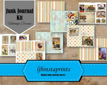Vintage Circus Junk Journal Kit, Circus Junk Journal Kit, Circus Junk Journal, Vintage Journal Kit
