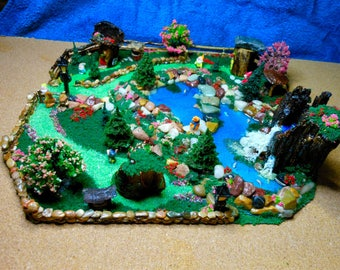 Fairy Land Diorama-OOAK-Fairy Pond/Houses/Polymer Clay Gnomes/wells/complete Diorama