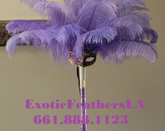 USA Seller! LAVENDER Ostrich Feathers.Giant 15 to 18 inches Long.Ostrich Feather Tail Plumes.Feather Centerpieces,Mardi Gras,Carnival,Samba