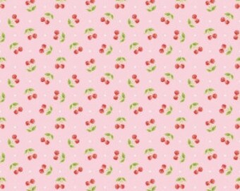 Glamperlicious Cherries Pink - Riley Blake Designs - Glamper licious fruit - Quilting Cotton Fabric - choose your cut