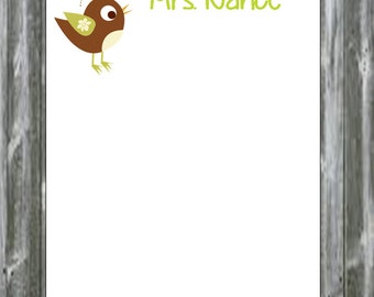 Super Cute Personalized Bird ~ Birdie Notepads perfect for teachers appreciation gifts ~ holiday gift giving Christmas Polyanna