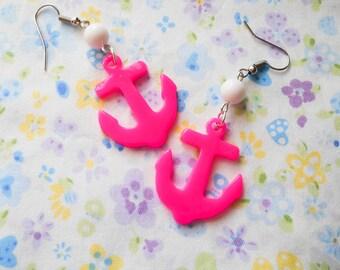 Kawaii Anchor Earrings, Anchor Earrings, Kawaii Earrings, Cute Earrings, Nautical Earrings, Summer Earrings, Anchors, Marine, Hot Pink