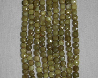 Opal, Yellow Opal, Faceted Cube, Opal Faceted Cube, Yellow Opal Cube, Semi Precious, Half Strand, 8 mm, AdrianasBeads