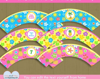Hawaiian theme party Cupcake Wrappers - fun tropical luau party printable cupcake wraps - INSTANT DOWNLOAD #P-22 - with editable text