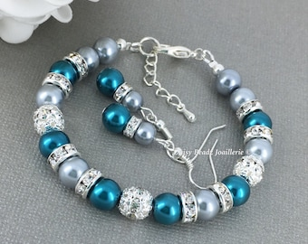 Grey and Teal Pearl Bracelet Bridesmaid Gift Pearl Jewelry Pearl Bracelet Bridesmaid Bracelet Bridal Jewelry Teal and Grey
