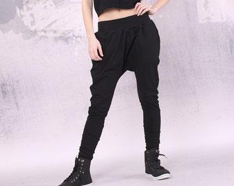 Woman Pants, Black long loose pants with two pockets, extravagant pants, harem pants - UM-025-CL