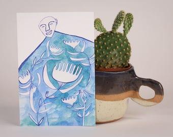 Blue Garden Dress-Postcard