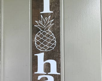 ALOHA Pineapple Door Sign
