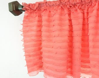 Light Coral Ruffled Curtain Valance- Coral Ruffle Window Treatment, Baby Girls Nursery, Coral Valance, Coral Ruffle Valance, Kitchen Valance