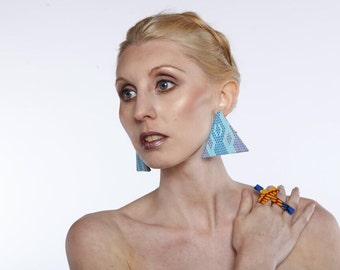 African print Triangle Earrings - fabric earrings