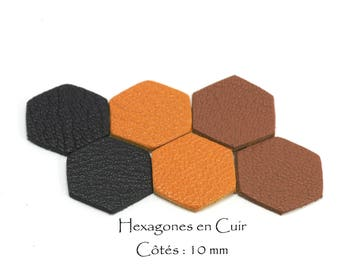 6 genuine leather - Sun hexagons. sides: 10 mm - set multicolor Black / Brown / mustard yellow