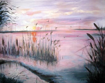 SUNSET, acrylic, paysage, purple, nature, lake, view, painting, acrylic painting