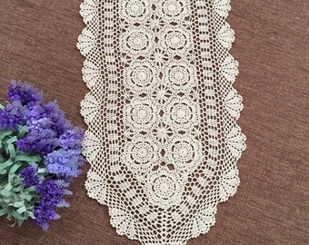 Size options ~ 100% handmade table overlay, hand crochet table runner oval, country living table topper for home decor ~ Nice gift for Mom