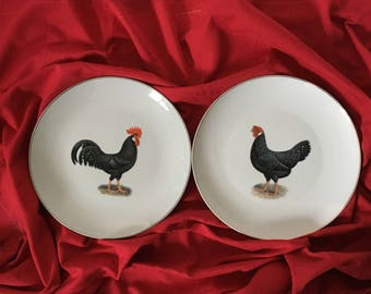 Two customizable rooster and hen plates red and black