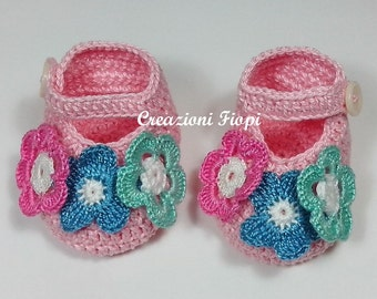 Crochet Baby Spring Flowers Booties Slippers Pdf  PATTERN 150-4 Size Tutorial /Instant Download /Permission to sell  items