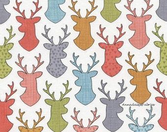 Deer Fabric, Timeless Treasures Walk in the Woods, Fun C4446, Deer Head Silhouettes, Deer Quilt Fabric, Deer Head Fabric, Woodland, Cotton