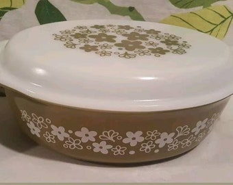 Vintage Pyrex Crazy Daisy Spring Blossom 045 Casserole with Lid