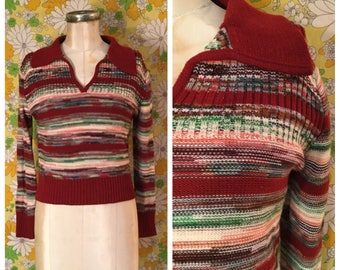 SALE! 70s Vintage Space Dye Cropped Striped Pullover Sweater Small Medium