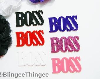BOSS Word Laser Cut Flatback Acrylic You Choose Color Kawaii Cabochon Phone Case Decoden Embellishment 2 Inch 50mm
