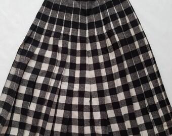 Vintage 1980 laine mélange plissée taille haute jupe modeste noir cassé petit XSmall à carreaux blanc