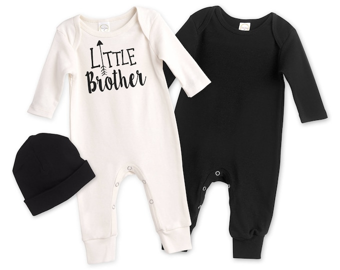 Newborn Little Brother Coming Home Outfit, Black White Baby Outfit, Baby Boy Little Brother Minimalist Romper TesaBabe