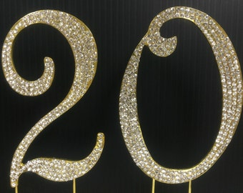 Rhinestone Gold NUMBER (20) Cake Topper 20th  Birthday Parties FREE SHIPPING
