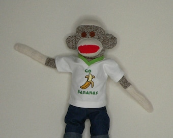 Go Bananas Sock Monkey - This One Has a LOT of Energy - 18 inches Tall - Rockford Red Heel Socks