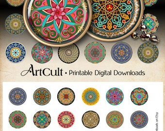30 mm Printable digital images MOROCCAN ORNATE CIRCLES for round pendants, bezel trays, glass cabochon mountings, cameo settings, Art Cult