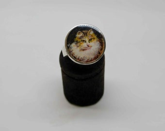 Hand painted cat ring
