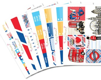 London Planner Sticker Kit for use with ERIN CONDREN LIFEPLANNER™, Happy Planner, A5, Personal, Pocket, Travelers Notebook