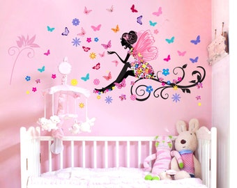 Fairy with flowers and butterflies