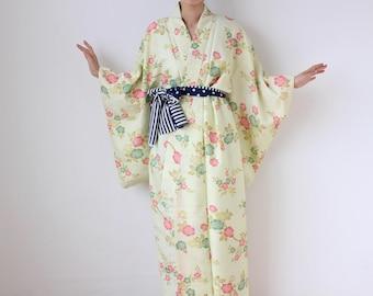Sakura floral kimono, Japanese kimono, long kimono, sakura kimono, vintage kimono, kimono dress, Japanese dress, wrap dress /682