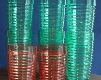 Vintage 1980s large jewel green fluted plastic glasses garden partyware ribbed jewel pink plastic glasses vintage Majestic glassware USA