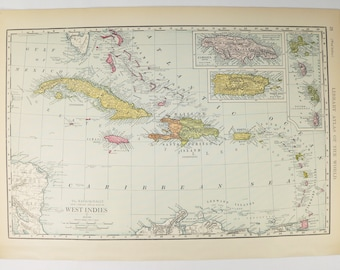 Vintage bahamas map etsy west indies map 1912 vintage map cuba bahamas map virgin islands jamaica map gumiabroncs Image collections