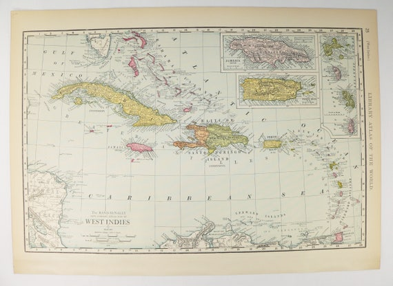 West Indies Map Vintage Map Cuba Bahamas Map Virgin - Vintage map of cuba