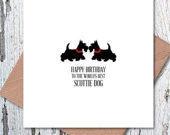 Happy Birthday to the World's Best Scottie Dog Card, dog birthday card, Westie birthday card